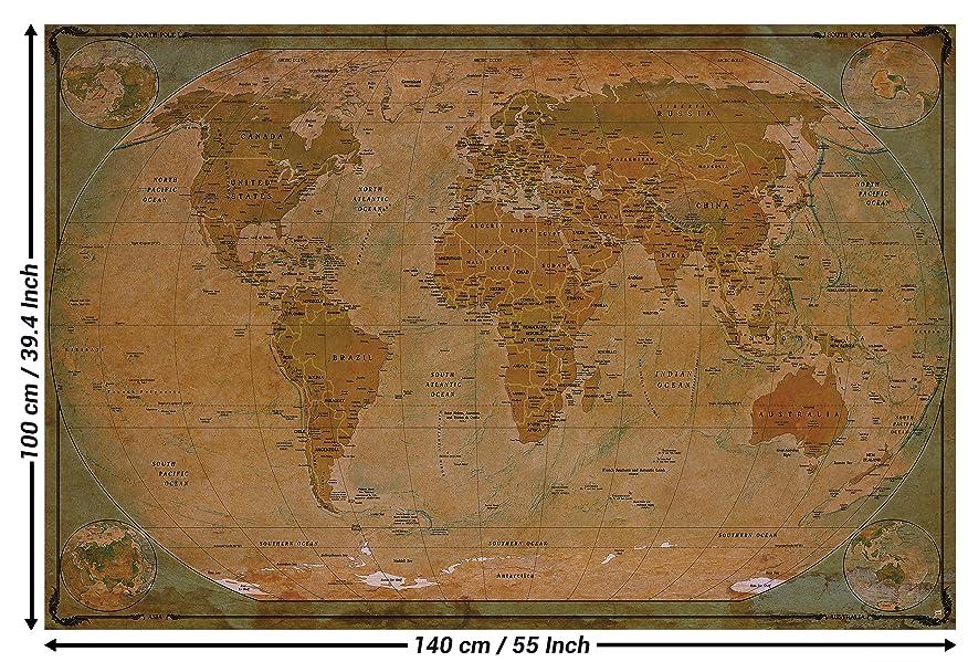 Historische weltkarte poster xxl wandbild dekoration globus antik vintage world map - Wandgestaltung antik ...