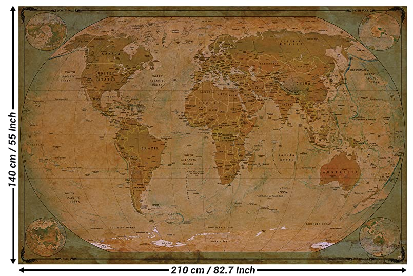 great-art Fototapete Map of The World – Tapete 210x140cm 5-teilige ...