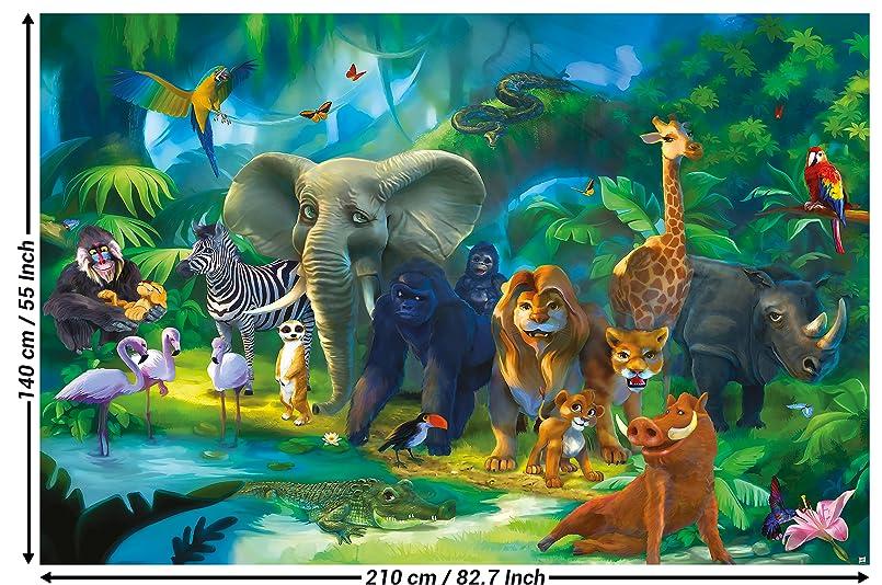 Fototapete kinderzimmer dschungel tiere wandbild dekoration jungle animales zoo natur - Dekoration dschungel ...