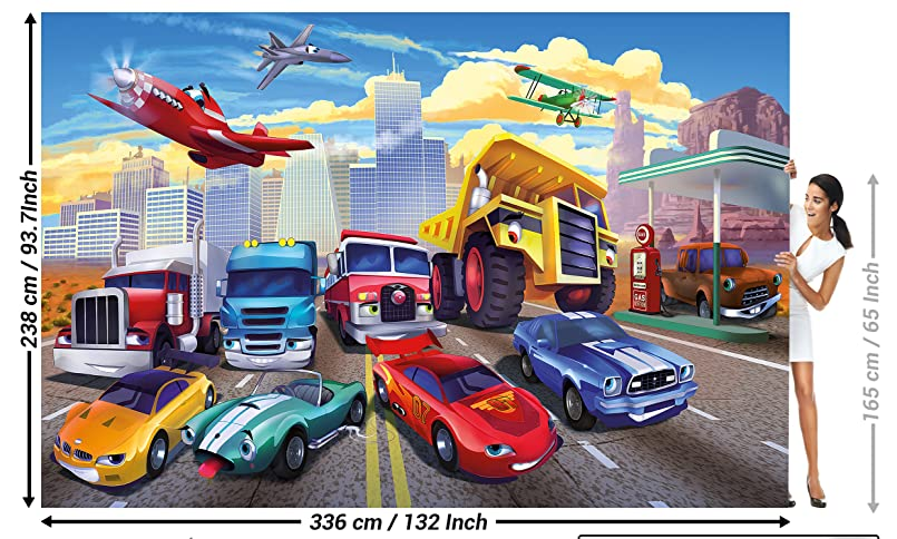 great-art Fototapete für Kinderzimmer Autorennen Wandbild Dekoration ...
