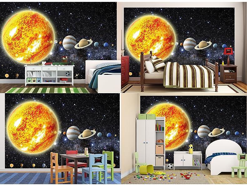 Fototapete sonnensystem planeten wandbild dekoration for Dekoration universum