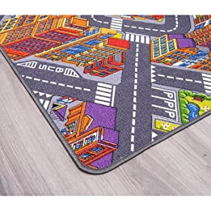 Anti-Schmutz-Schicht Auto-Spielteppich f/ür M/ädchen /& Jungen Spielteppich Autoteppich Stra/ßenteppich Big City 95x200 cm Kinderteppich Strasse Fu/ßbodenheizung geeignet