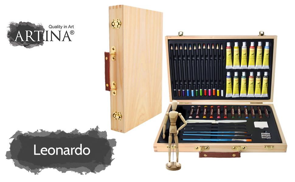45tlg. Artina Malset Leonardo Malkoffer Set: Acrylfarben, Pinsel ...