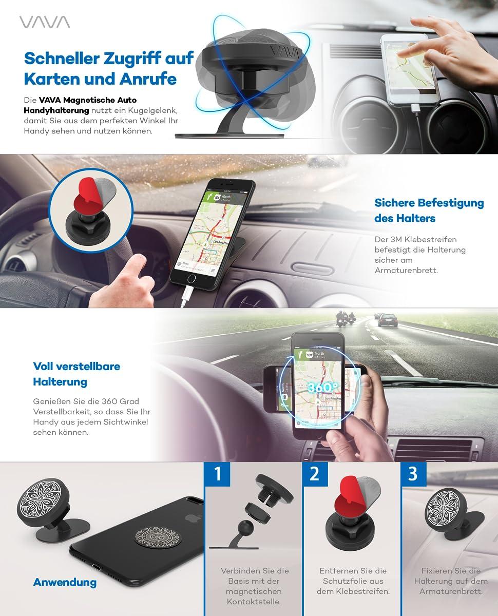 Vava Handyhalterung Auto Magnet Für Armaturenbrett Kfz Elektronik
