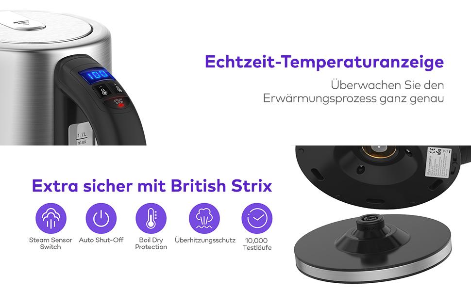 Elektrischer Wasserkocher mit British Strix