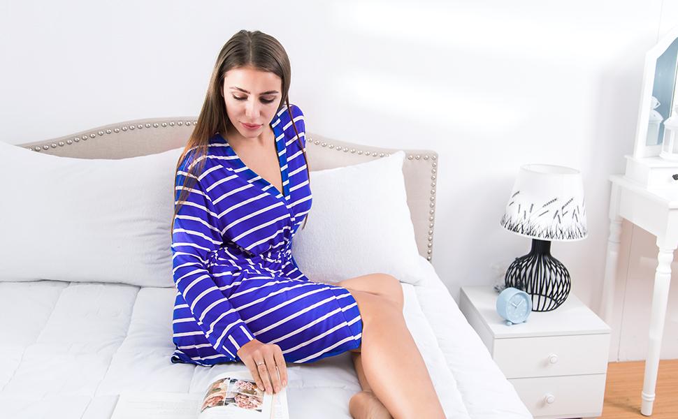 Morgenm/äntel Baumwolle Nachtw/äsche Kimono Kurz ENIDMIL Badem/äntel Damen