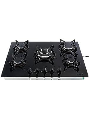Gas hobs Vidrio y cerámica cocina cocina de gas quemador de gas de hobs | 5 Llamas