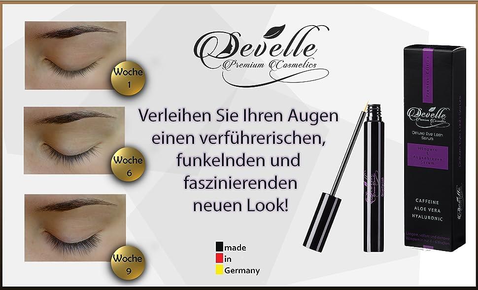 29f03c6ba71 Wimpernserum MADE IN GERMANY! Geprüfte Qualität und beste Inhaltsstoffe!  Develle Premium Cosmetics Deluxe Eyelash ...