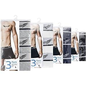 Boxershorts 3er Pack in Schwarz, Weiss, Blau oder Grau