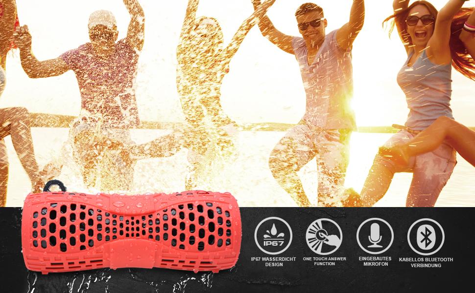 Reisen Freisprechanlage Ingebauten Mikrofons AUX-Anschlu/ß Gr/ün f/ür Fahrrad Bad Garten 12W bass Sound Outdoor Tragbare IP66 Dusche Bluetooth Box Tingda Bluetooth Lautsprecher Wasserdicht
