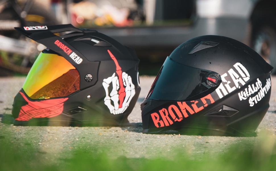 Broken Head Street Rebel Rot Cross Helm Set Mit Rot Verspiegeltem Visier Enduro Helm Mx Motocross Helm Mit Sonnenblende Quad Helm Xl 61 62 Cm Auto