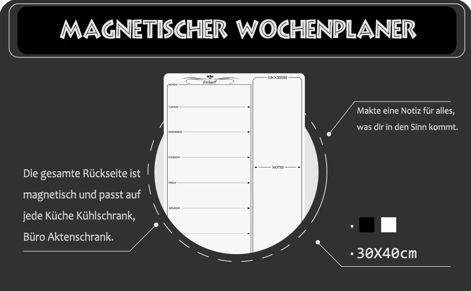 Housolution W/öchentlich Magnetischer Kalender Schwarz Trocken Abwischbar Wochenplaner Memoboard K/ühlschrank Kalender Magnettafel mit 8 kostenlosen Stift f/ür Familien Men/üplanung Einkaufsliste Memo