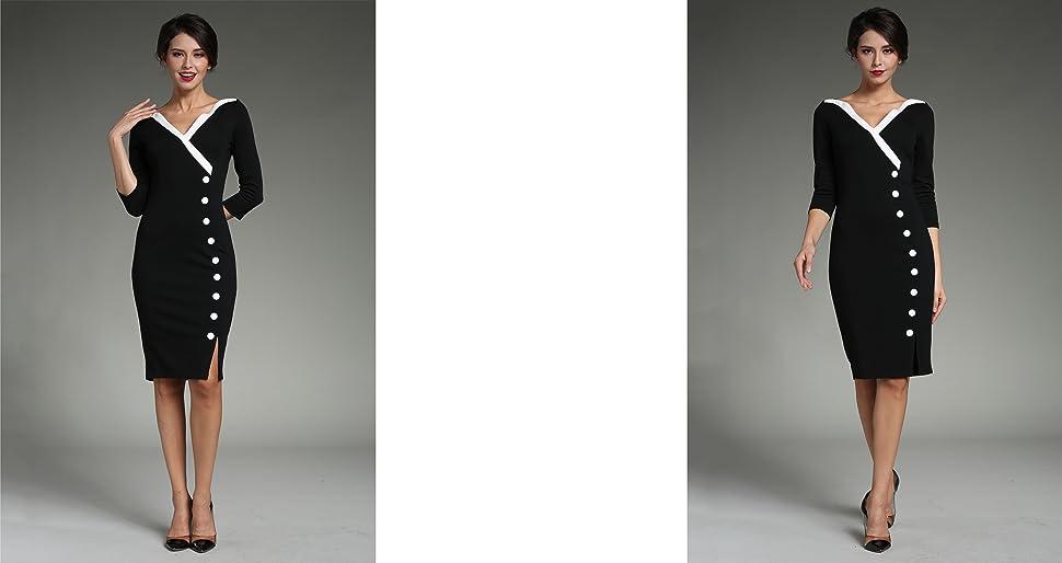 Homeyee Frauen Elegante V Ausschnitt Big Button Hem Spalte Schlanke Bodycon Casual Vintage Kleid B335 Amazon De Bekleidung
