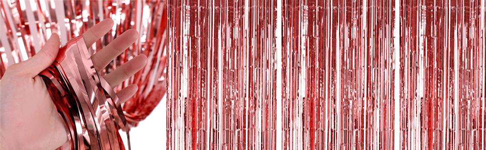 Tumao Rose Gold Metallic Tinsel Vorhänge 2 Stück Folie Fringe Shimmer Vorhang Geburtstag Dekorationen Party Liefert Kit Geburtstag Hochzeit Foto Booth Dekorationen Spielzeug