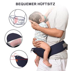 Babytrage Bauchtrage Ergonomisch f/ür S/äuglinge bis 15Kg Kindertrage R/ückentrage H/üfttrage f/ür alle Jahreszeite tr/äger blau