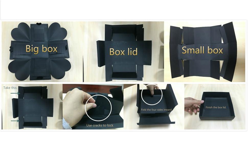 Veesun Explosionsbox Kreative überraschung Box Handgemachtes Fotoalbum Zum Selbstgestalten Schwarze Seiten Scrapbook Diy Hochzeit Jahrestag