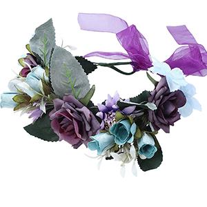Dunkelviolette Blumenkrone für Damen und Mädchen