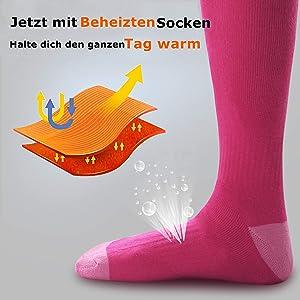 Elektrische Batterie beheizt Socken Fußwärmer Heizung Eisfischen Fuß Schuh B ST