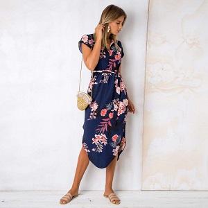 c44a1a09ce7f72 Bequemer Laden Damen Kleid Sommerkleid Kurzarm V Ausschnitt ...