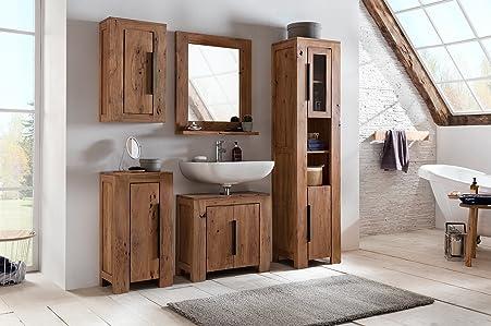 Woodkings® Waschbeckenunterschrank Auckland Echtholz