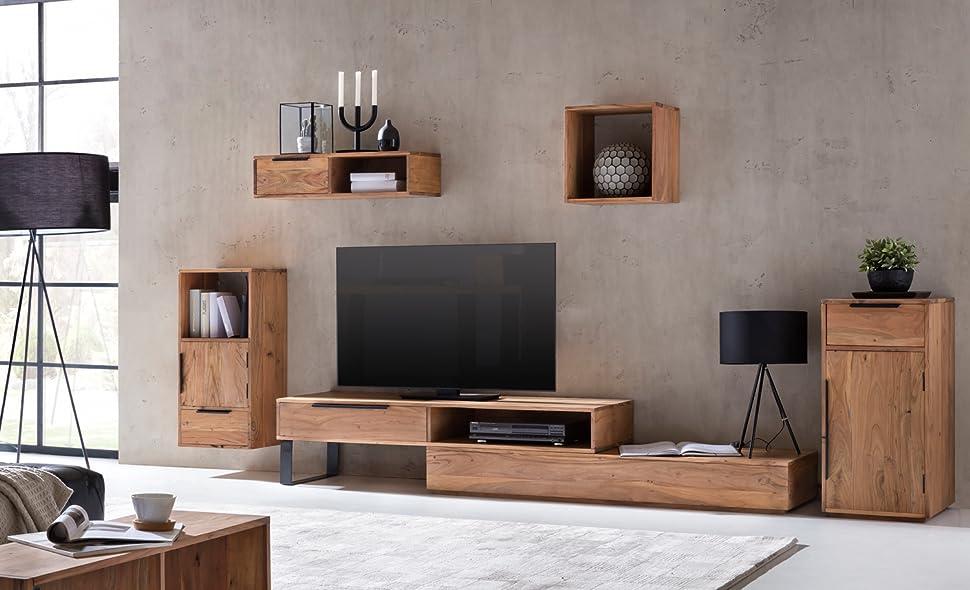 Wohnwand rustikal  Woodkings® Wohnwand Auckland 5teilig Akazie, Lowboard TV-Bank ...