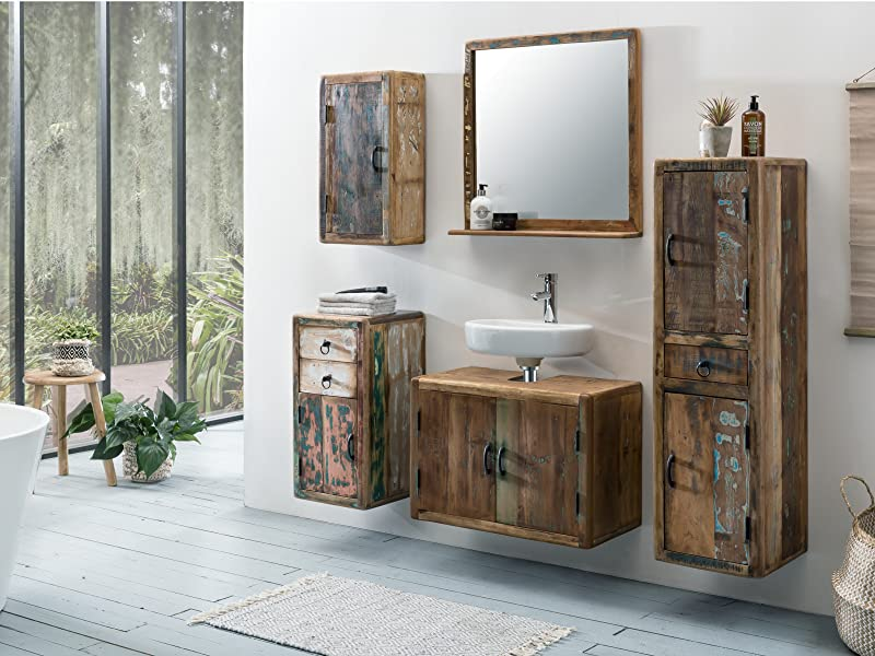 woodkings bad hochschrank kalkutta recyceltes holz bunt rustikal h ngebad badhochschrank massiv. Black Bedroom Furniture Sets. Home Design Ideas