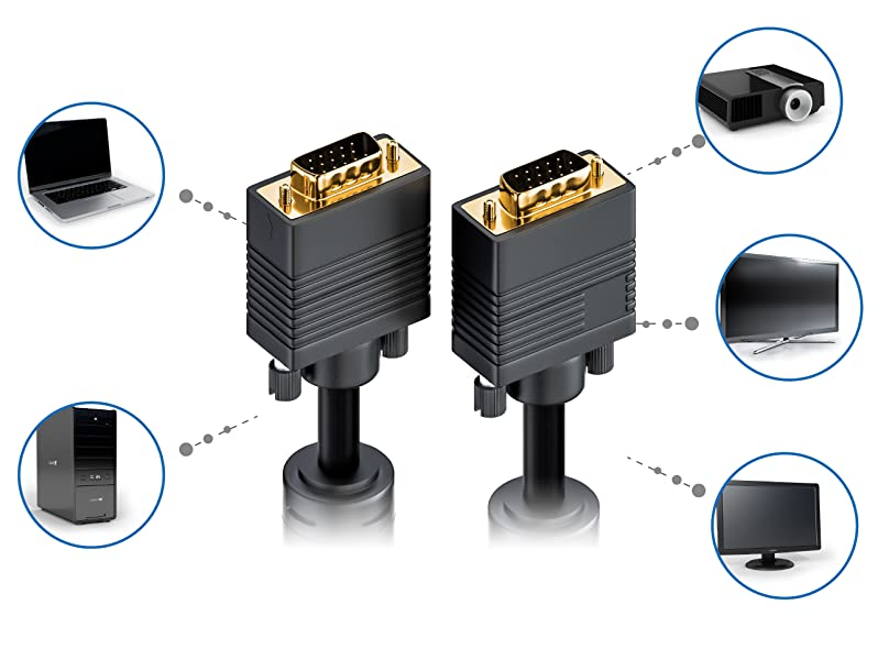 deleyCON 15m VGA Kabel 15pol - S-VGA Monitorkabel: Amazon.de: Elektronik