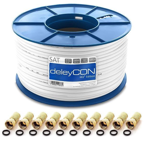 deleyCON HQ+ 100m Cable Coaxial Sat 130dB Blindado de 5 ...