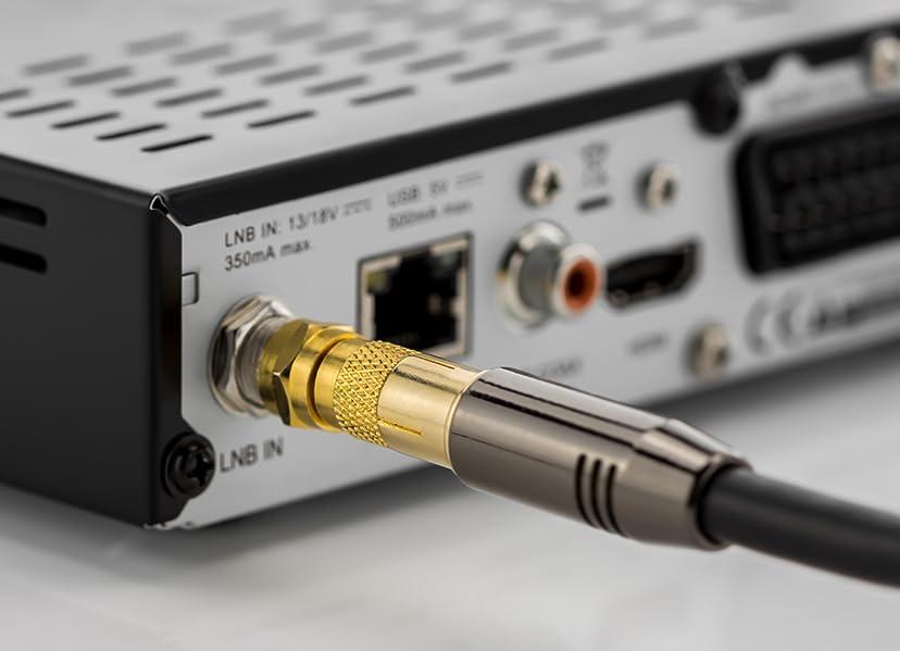 deleyCON 2X Cable Adaptador de Antena Sat a Adaptador F-Plug a Conector Hembra IEC Adaptador Coaxial Cable Sat Cable Chapado en Oro