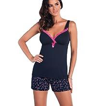 zarter Spitze und zus/ätzlicher exklusiver Satin-Augenbinde mit zahlreichen Details Made in EU Selente Sweet Dreams eleganter Schlafanzug//Shorty//Pyjama