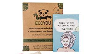 Waschbare Abschminkpads EcoYou Blau Plastikfreie Verpackung Zero Waste Bad