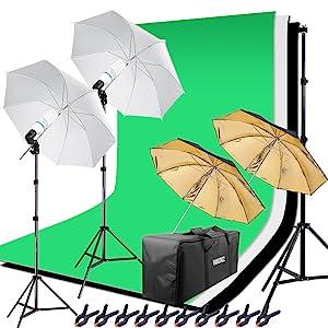 Hintergrundsystem Softbox set Fotostudio set Greenscreen Set