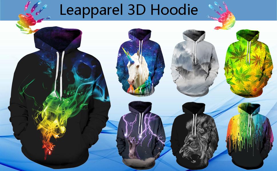 Leapparel Unisex Hoodie Sweatshirt Tops mit 3D Cool Galaxy und lustige Tier  Grafik Print 3d6f8cc301