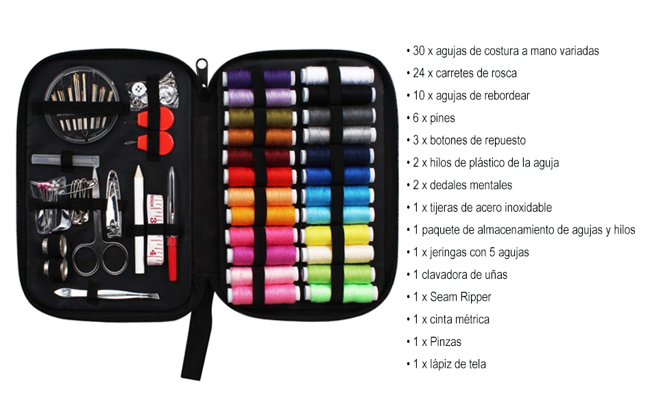 Tuxwang Kit de costura con 90 piezas Accesorios de costura premium con funda de transporte, 24 carretes de hilo - 1 paquete de agujas de coser (cuenta ...
