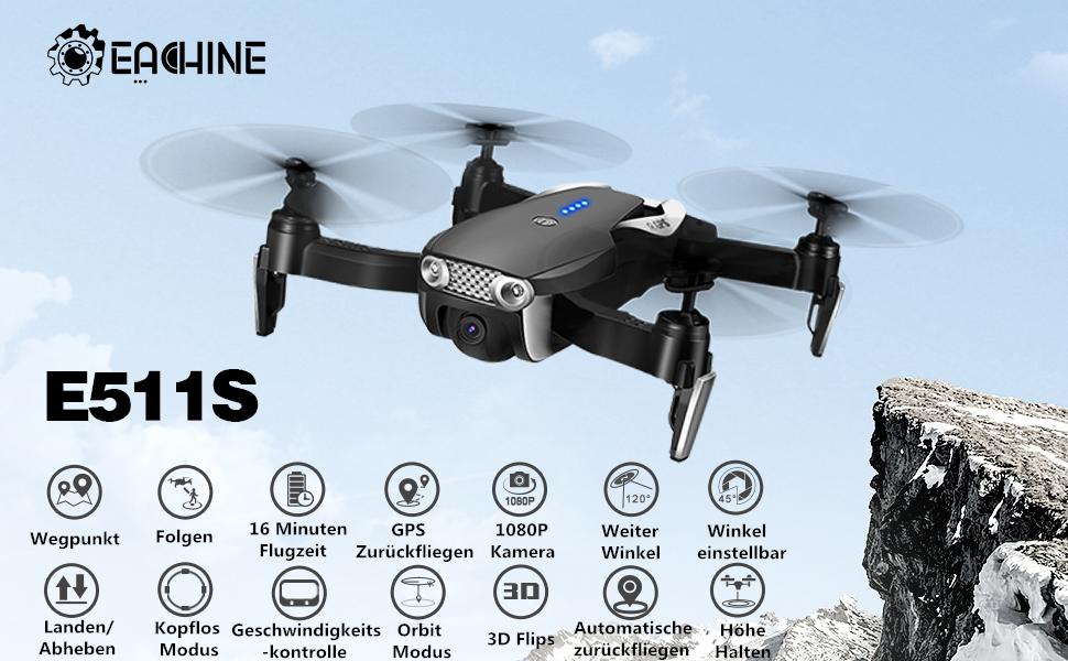 Eachine E511s Gps Drone With Camera 1080p Hd Wifi Fpv Live Transmission Rc Quadcopter Follow Me Mode 3d Flip Trajectory Flight Folding Drone For Beginners Black Amazon De Spielzeug