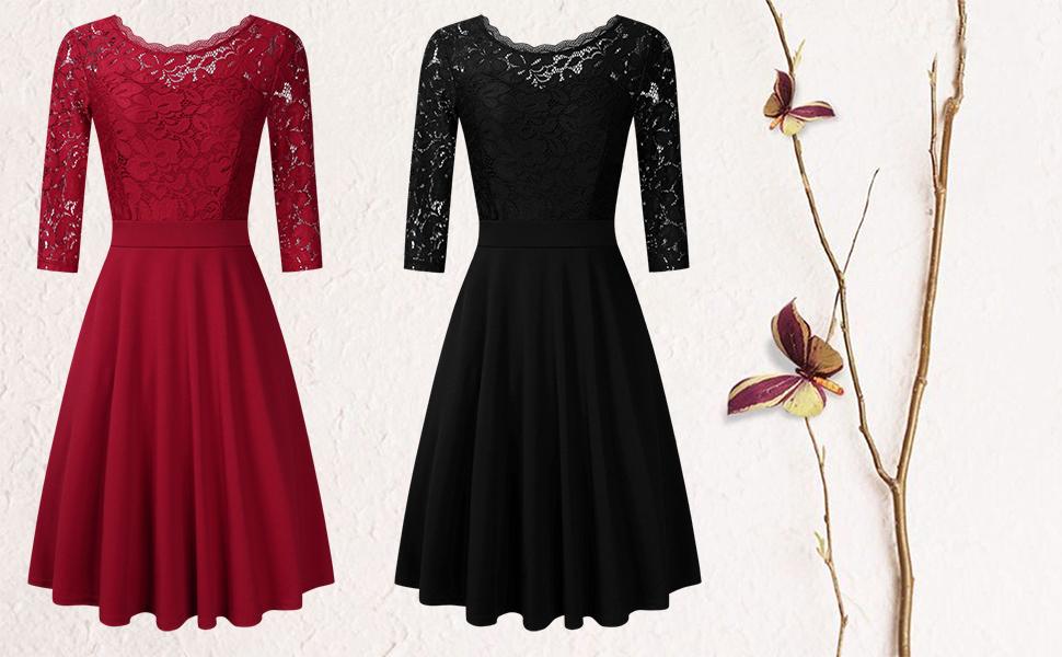 Clearlove Damen Kleider Elegant Spitzenkleid 3 4 Ärmel Cocktailkleid  Rundhals Knielang Rockabilly Kleid. c 37cd2d29f6