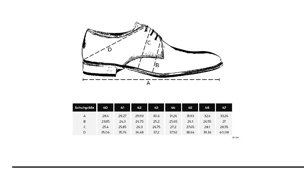 Scarpe da business con tabella delle taglie