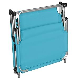 Textilenbespannung Blau wetterfest klappbar Wohaga XXL Sonnenliege Adelaid Aluminium 212x71cm 5-Fach verstellbare R/ückenlehne ideal f/ür Garten und Camping platzsparend