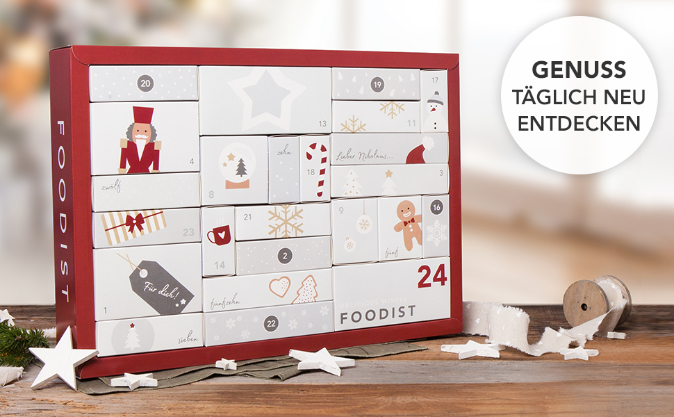 foodist gourmet adventskalender mit 24 hochwertigen. Black Bedroom Furniture Sets. Home Design Ideas