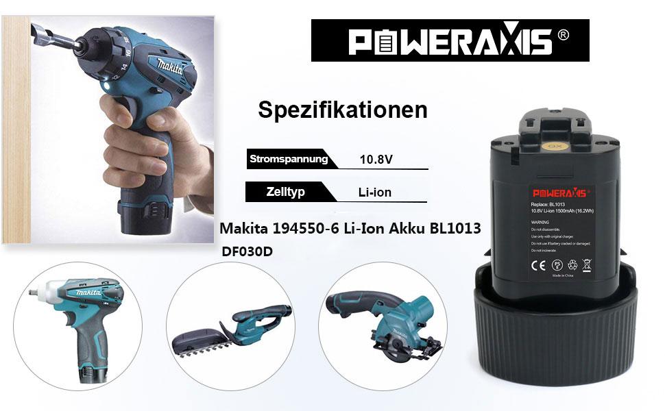 2x Akku 10,8V 1500mAh für Makita TD090DWX TD090DWXW TW100