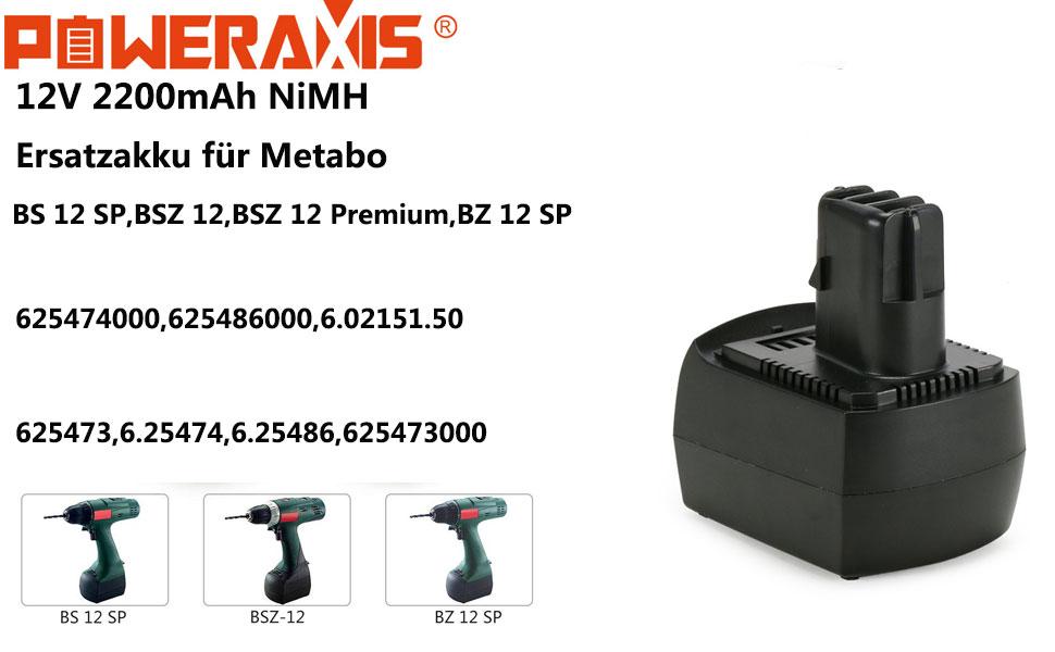 Metabo BST 12 BS 12 Impuls 12V 2.0AH NIMH Neu Akku f