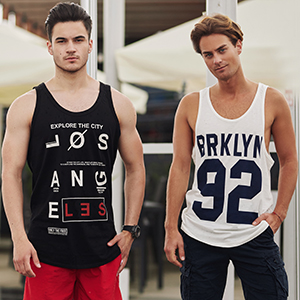 BOLF Herren Sommer Tank Top T-Shirt mit Kapuze Hoodie Aufdruck Print Muster Sport Style 3C3
