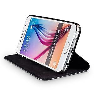 Wiiuka Echt Ledertasche Travel Für Samsung Galaxy S6 Mit Kartenfach Extra Dünn Tasche Schwarz Leder Hülle Kompatibel Mit Samsung Galaxy S6 Elektronik