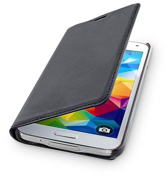 Wiiuka Echt Ledertasche Travel Kompatibel Mit Samsung Galaxy S5 Mit Kartenfach Schwarz Extra Dünn Premium Design Leder Hülle Elektronik