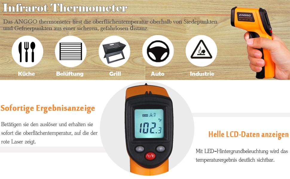 BBQ Smoker Grill Edelstahl Thermometer Temperaturanzeige 0~300℃//50 ~ 550℉