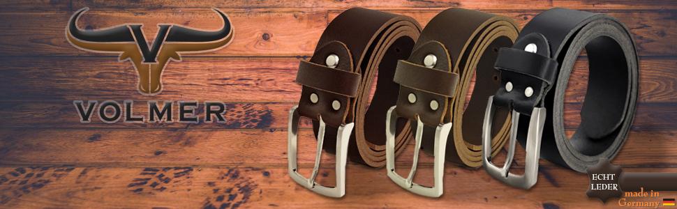 ff32178401f153 Fa.Volmer ® Schwarze Ledergürtel aus Büffelleder, 38mm breit und ca ...