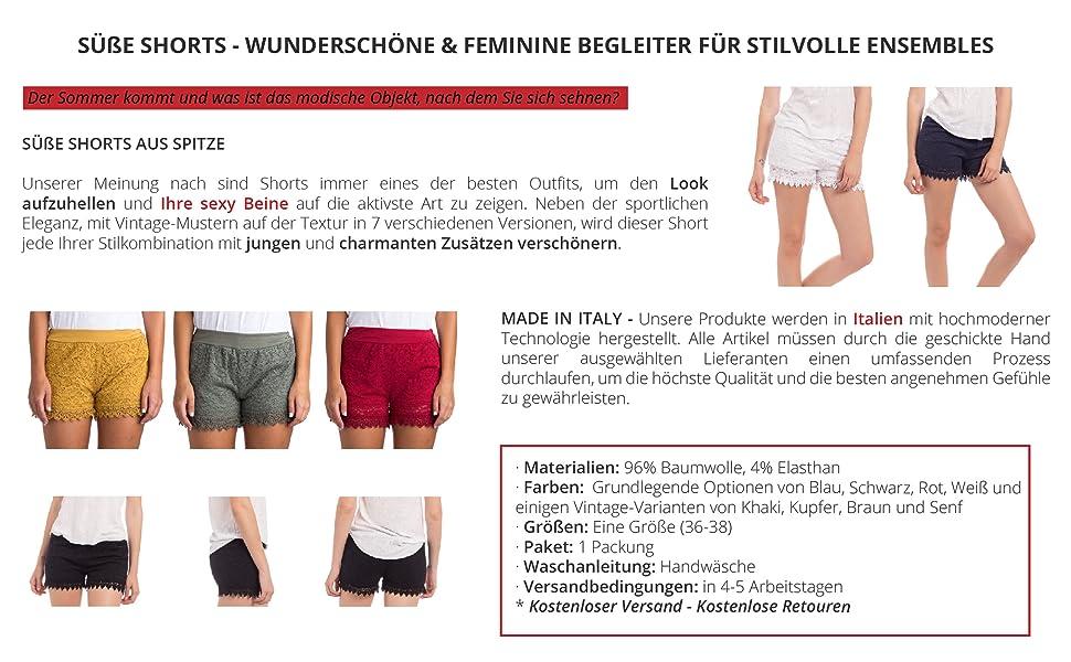 Mäntel : Am beliebtesten ITALY Damen Bermuda Shorts kurze