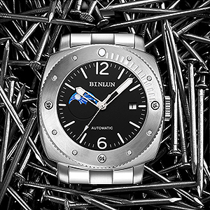 Mit Automatik Uhr Analog Herren Silber Binlun Edelstahl Armband ARj5L43
