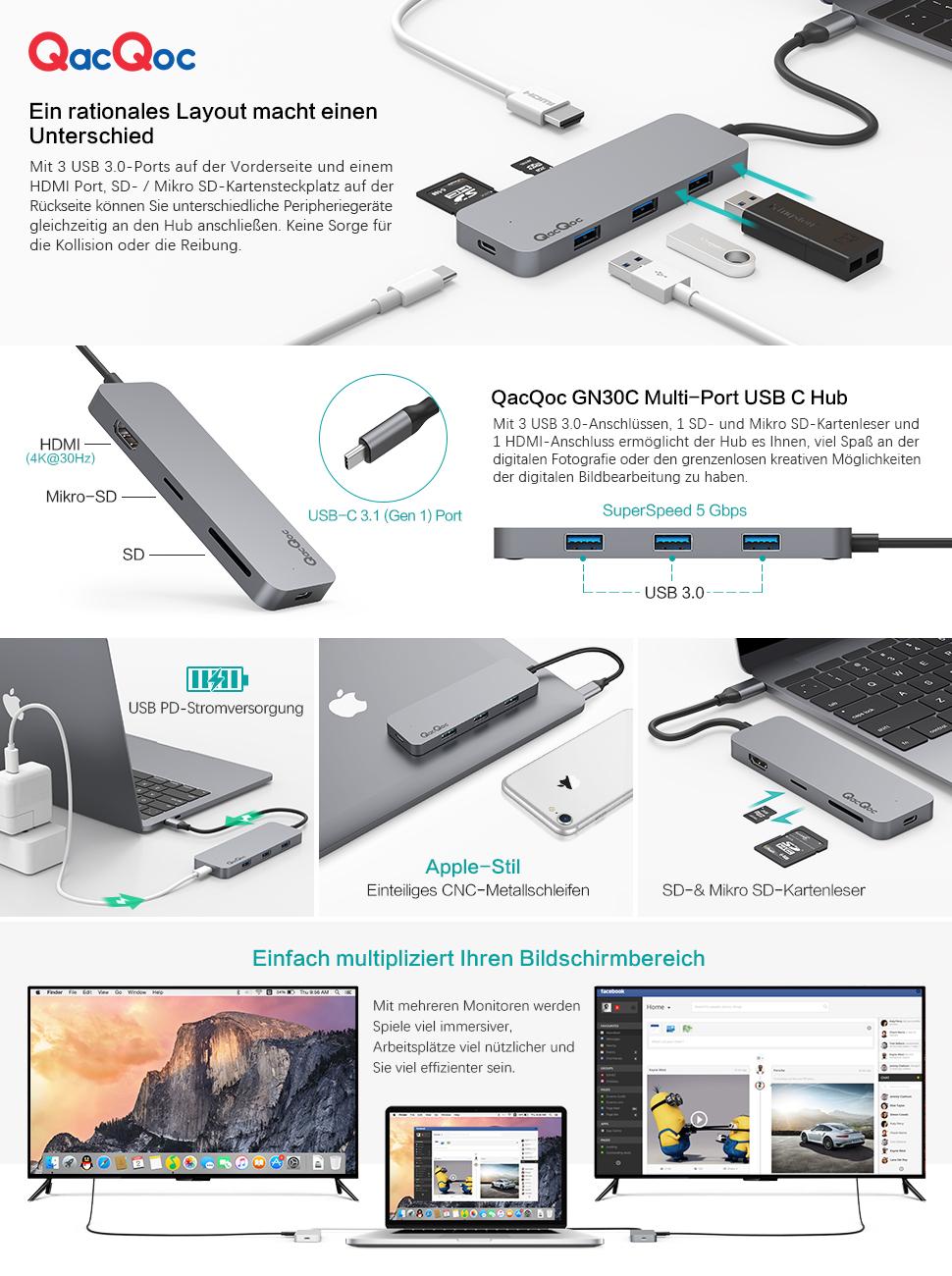QacQoc USB C Hub Aluminium Typ C Adapter mit 3 USB 3.0: Amazon.de ...