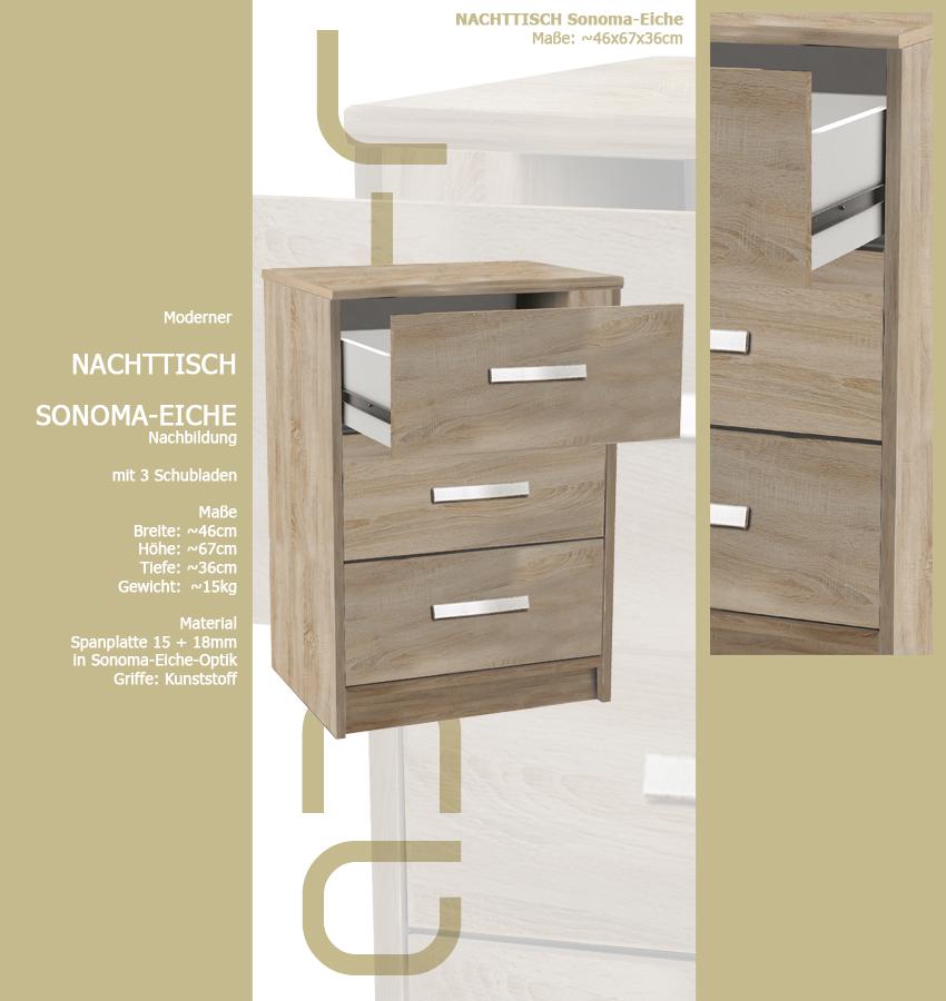 nachttisch 127 sonoma eiche 3x schublade holz nachtschrank nachtisch 67cm hoch. Black Bedroom Furniture Sets. Home Design Ideas